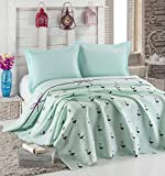 LaModaHome Luxury Soft Colored Full and Double Bedroom Bedding 100% Cotton Coverlet (Pique) Thin Coverlet Summer/Flamingo Line Rope Bowtie Animal Blue Background /