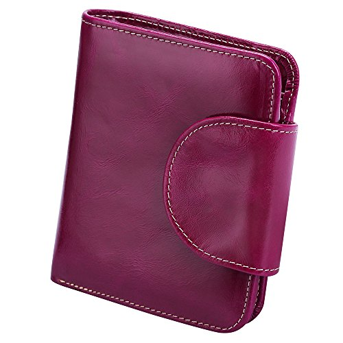 S-ZONE Women's Genuine Leather Tri-Fold Small Wallet Compact Card Organizer with Photo Slot (Purple) ()
