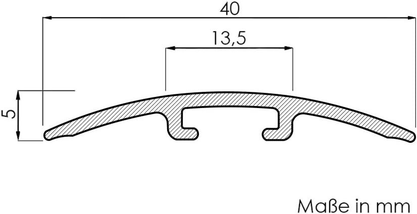 f/ür 0-4 mm H/öhenunterschied Laminat-/Übergangsschiene Color Black Superglanz 900 m