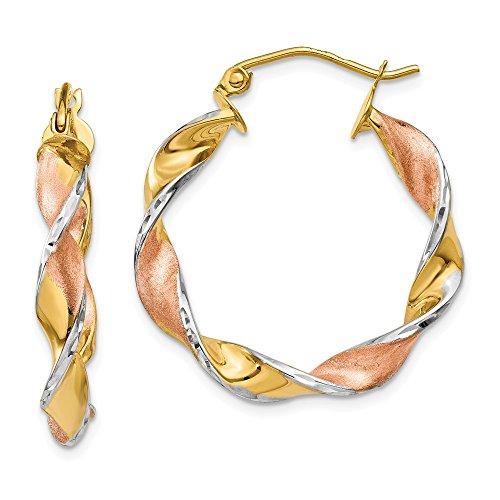 14k Yellow Gold Rhodium Plated Twisted 0.7IN Long Hoop Earrings 14k Yellow Gold Rhodium Plated
