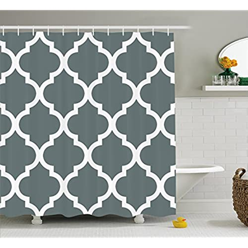 Gray And White Decorative Damask Geometric Shower Curtain Victorian Style  Creative Home Decoration Modern Bathroom Art Decor Interior Decoration With  Hooks ...