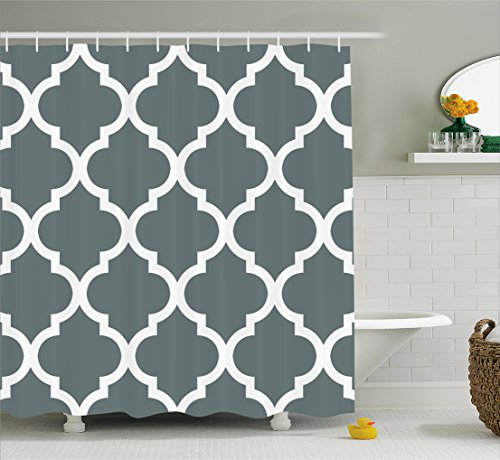 Home Interior Decor - Gray and White Decorative Damask Geometric Shower Curtain Victorian Style Creative Home Decoration Modern Bathroom Art Decor Interior Decoration with Hooks Pocket Digital Print Fabric Shower Curtain