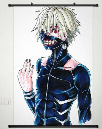 Anime Tokyo Ghoul Home Decor Wall Scroll Poster Fabric Painting Kaneki Ken / Touka Kirishima 23.6 x 35.4 (141 Ken)