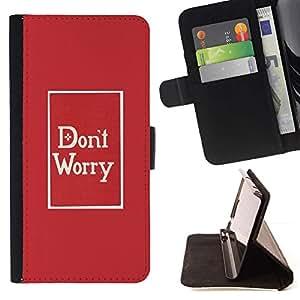 For HTC One Mini 2 M8 MINI Case , Preocupación minimalista rojo impresiones de texto- la tarjeta de Crédito Slots PU Funda de cuero Monedero caso cubierta de piel