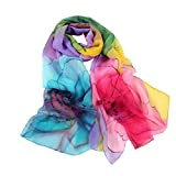 Ikevan Hot Selling Newset Women Lady Warm Shawl Rainbow Color Flower Scarf Soft Voile Shawl Wrap Large Scarves Spring Summer Autumn Winter 160x50cm (Purple)