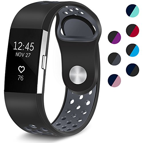 Maledan Replacement Sport Bands with Air Holes Compatible for Fitbit Charge 2, Black/Gray, Small