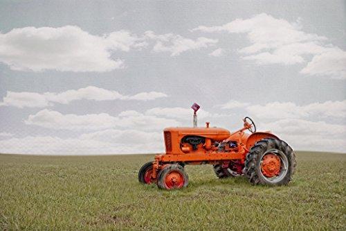 Vintage Allis Chalmers Orange Tractor in Field Photo Art Print Poster 18x12 inch -