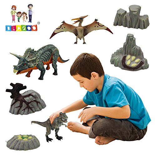 BLAGOO Dinosaur Toys with Moving Parts 3 Figures up to 9.4 inches Set (Bony Monster Halloween)