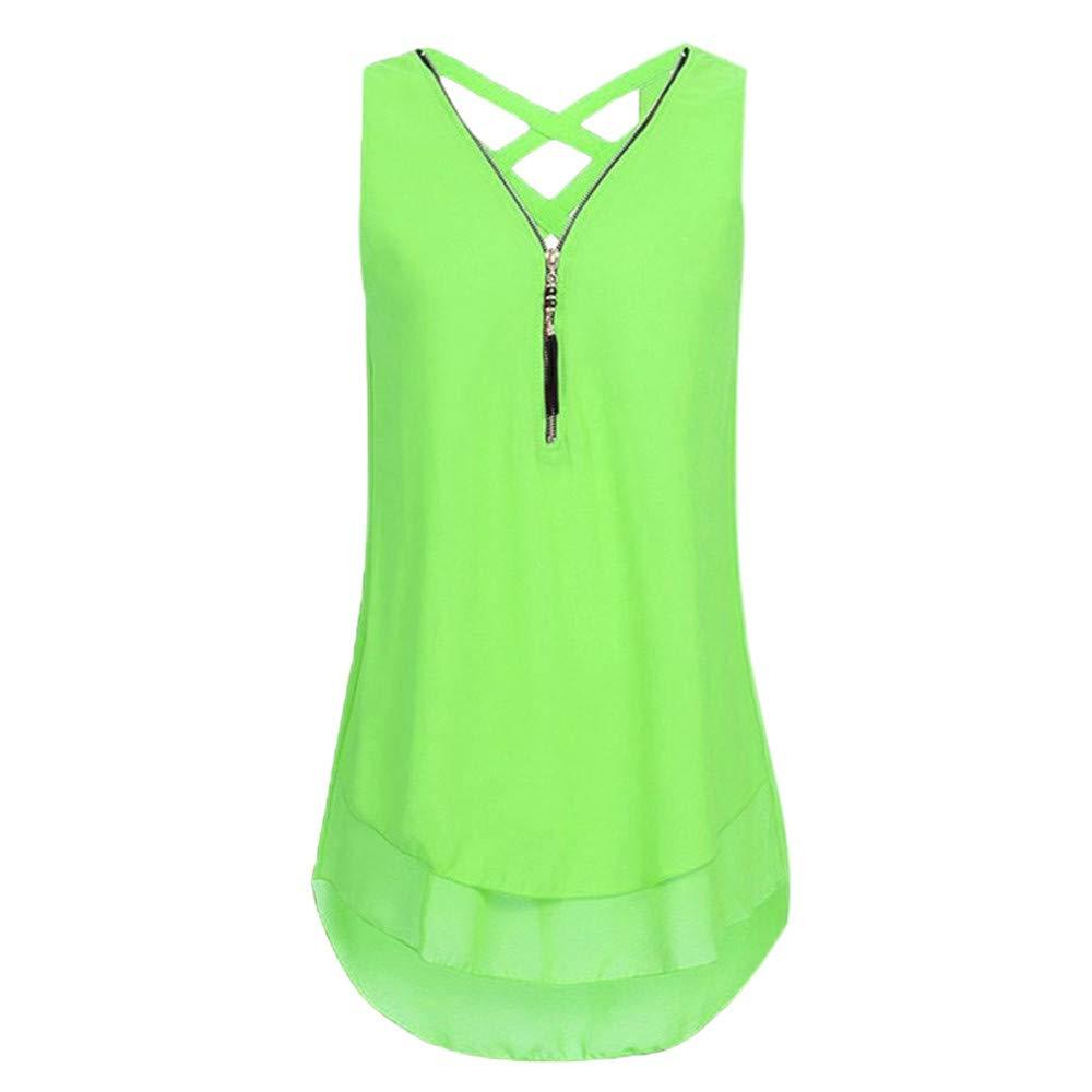 TADAMI Women's Casual V Neck Sleeveless Tunics Blouses Chiffon Zipper Tank Tops