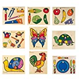 Large Knobbed Puzzles For Kids - Set of 9