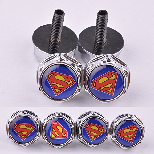 D&R® 4 Pcs Chrome Car parts Auto Logo Stainless Replacement License Plate Frame Screw Bolt Caps Covers emblem With Superman