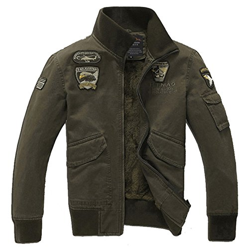 H.T.Niao Jacket8204C1 Men 's Air Force One Collar Plus Velvet Jackets(Army Green,Size XXXXL)