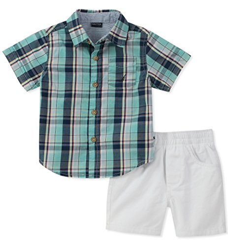 Brushed Twill Shorts (Nautica Toddler Boys' Shirt with Shorts, Green/Gray, 2T)