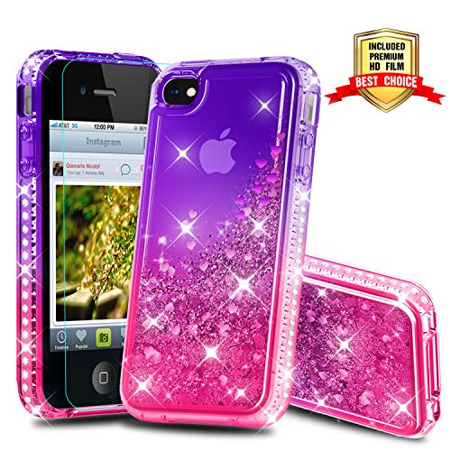 iPhone 4S Case, iPhone 4S Girly Cases with HD Screen Protector, Atump Fun Glitter Liquid Sparkle Diamond Cute TPU Silicone Protective Phone Cover Case for Apple iPhone 4/4S Purple/Rose