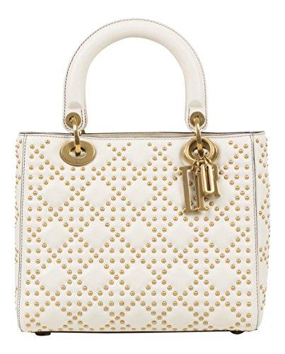 Christian Dior Lady Dior White Leather Studded Handbag
