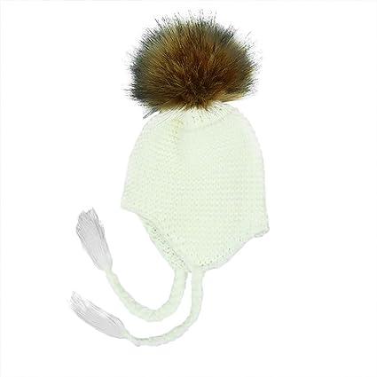 Xuxuou 1 Pieza Gorro de Orejeras de Bebé Sombrero de Bola de Pelo Sombrero  de Punto 46241290e28