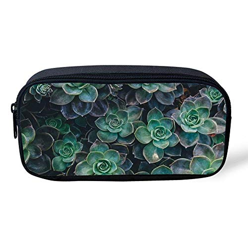 CUYcolorfulpencilbagPOI Green Succulent PlantPrint Pencil Bag Canvas Durable Colored Pen Bag Kids School Stationery Pencil Case Women Casual Cosmetic Bags]()