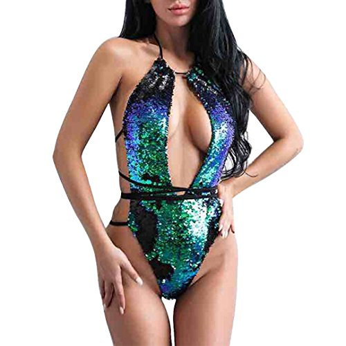 Hoohu Women's One Piece Sexy Bandage Halter Deep V Padded Push-up Bra Glitter Sequin Swimwear Beachwear Swimsuit Bathing Suit