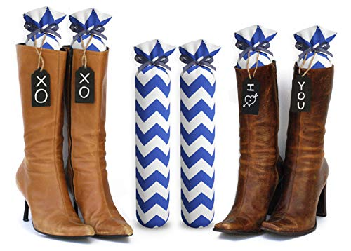 My Boot Trees, Boot Shaper Stands for Closet Organization. Many Patterns to Choose from. 1 Pair. (Blue Chevron)
