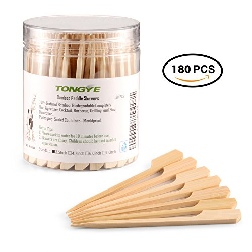 Bamboo Paddle Skewers 3.5 Inch with Clear Cylinder, Food Grade Cocktail Picks, Barbecue Stick. Decoration for Party Food, Appetizer, Dessert, Fruit, Sausage, Burger, Kebab. (180 PCS Natural Color)