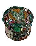 GANESHAM Indian Room Decor Hippie Vintage Cotton Floor Pillow & Cushion Patchwork Bean Bag Chair Cover Boho Bohemian Hand Embroidered Ethnic Handmade Pouf Ottoman 22x14 inch