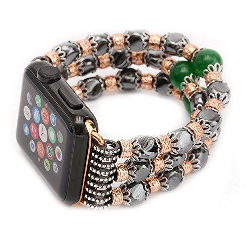 Apple Watch Band, Elastic Stretch iwatch Strap Replacement iWatch Band Agate and Jade Stone Wristwatch Bracelet for Apple Watch Series 3 Series 2 Series 1 All Version (Jade Stone Ltd)