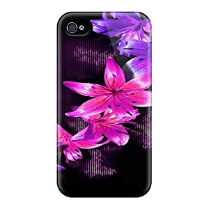 Fashion Tpu Case For Iphone 4/4s- Beautiful Flowers Defender Case Cover
