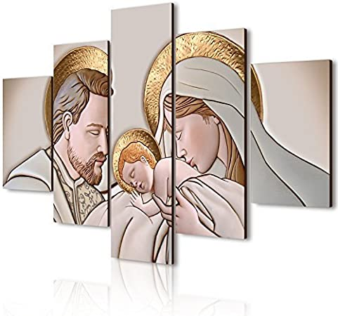 Lupia Quadro Moderno 5 Pezzi in Legno Vogue 48X85 cm Nativity Brown