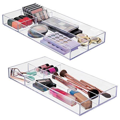 mDesign Plastic Divided Makeup Organizer for Bathroom Drawer, Vanity, Countertop - Storage Bin for Makeup Brushes, Eyeshadow Palettes, Lipstick, Lip Gloss, Blush, Concealers - 16