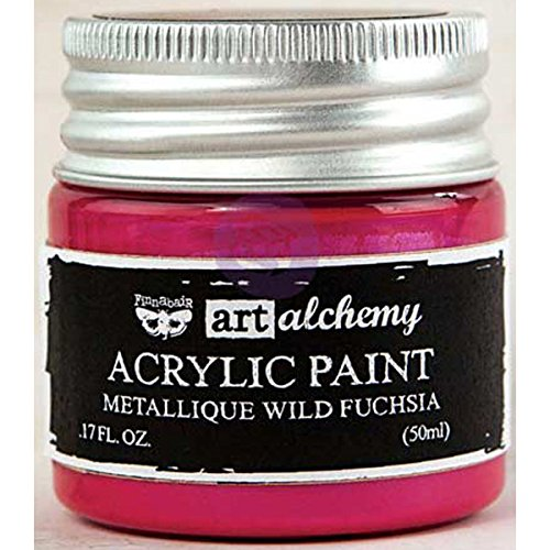 Prima Marketing 963132 Finnabair Art Alchemy Acrylic Paint, 1.7 fl. oz, Metallique Wild Fuchsia