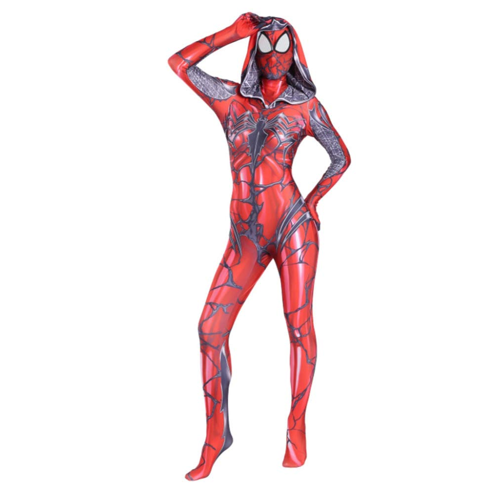ASJUNQ Venom Lady Spider-Man Anime Costume Halloween Cosplay Collant Siamese Fancy Dress Party Theme Party Movie Puntelli,Adult-XL