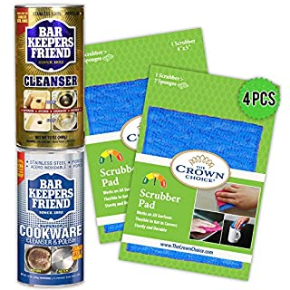 BAR Keepers Friend Powder Home Care Kit - Soft Cleanser(12oz) + Cookware Cleaner (12oz) + Two All Purpose Scrubber Pads