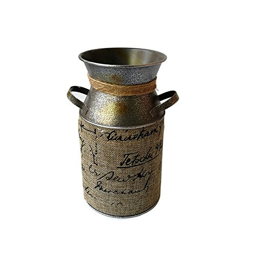 Set Jug (Watering Honey 7.5 inch Retro Pastoral Style Primitive Jug Vase Milk Can with Tied Decoration)