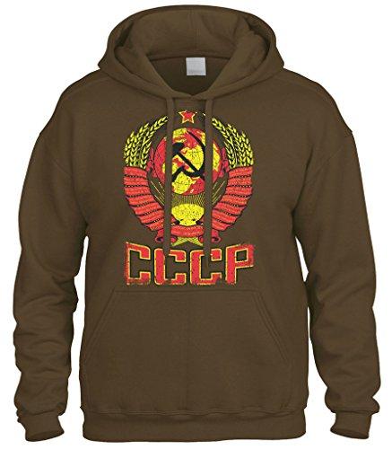 Sweatshirt Arms - Cybertela CCCP Distressed Coat Of Arms Sweatshirt Hoodie Hoody (Brown, Small)
