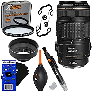 Canon EF 70-300mm f/4-5.6 IS USM Telephoto Zoom Lens for Canon EOS SLR Cameras (International Version) + 7pc Bundle Accessory Kit w/ HeroFiber Ultra Gentle Cleaning Cloth
