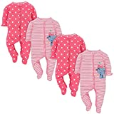 Gerber Baby Girls 4 Pack Sleep and Play, Kitty, Newborn