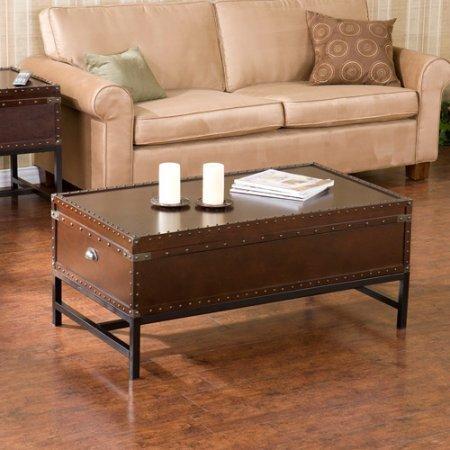 Southern Enterprises Antique (Southern Enterprises Restyled Antique Design Storage Trunk Table, Bold Espresso)