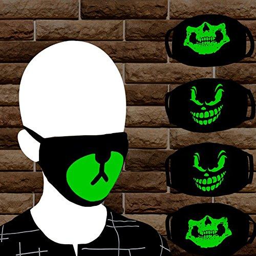 Shuohu Green Night Mask Personality, Fashion Unisex Cosplay Party Outdoor Cool Luminous Anti Dust Cotton Mouth Mask #Bear by Shuohu (Image #2)