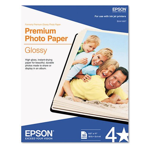 Epson Premium Photo Paper, 68 lbs, High-Gloss, 8-1/2 x 11, 50 Sheets/Pack