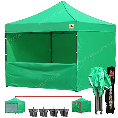 ABCCANOPY 20+ Colors?? 10-feet by 10-feet Festival Steel Instant Canopy, Commercial Level, with Wheeled Storage Bag, 6 Removable Zipper End Walls, Bonus 4X Weight Bag (Kelly Green)