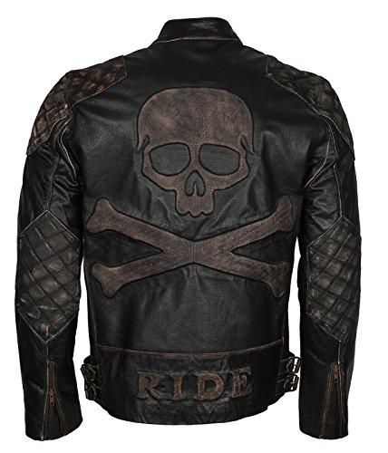Skull Embossed Vintage Black Biker Leather Jacket for Mens (XS - to fit Chest 38-39