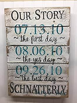 Personalized Our Story Wedding Reclaimed Wood Pallet Sign Home Decor