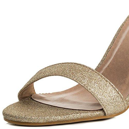 SPYLOVEBUY SASS Damen Peep-Toe Blockabsatz Sandalen Schuhe Pumps Gold - Glitzern