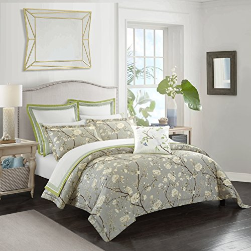 Casabolaj Camellia Collection 3 Pieces Luxury Duvet Cover Set Light Grey Floral Botanic French Country Printed Egyptian Cotton Sateen 400 Thread Count Luxury Button Closure Corner Ties(Queen) (Bed Country Collection Linen Cottage)