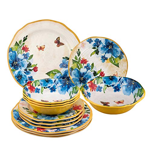 Butterfly Dinnerware - Gourmet Art 12-Piece Butterfly Melamine Dinnerware Set