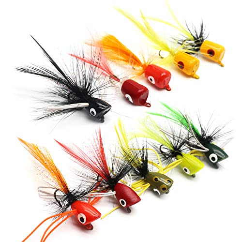 YZD Bass Popper Fly Dry Fly Fishing Flies Kit Panfish Bass Fishing Popper Topwater Bait (Popper Kit 01) (Best Bluegill Fly Patterns)
