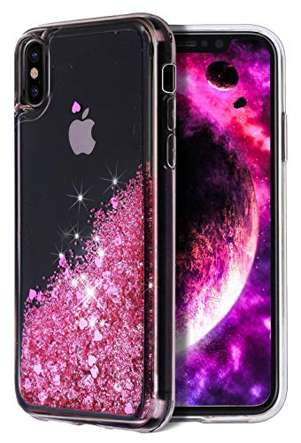 for iPhone Xs Max Case, WORLDMOM Double Layer Design Bling Flowing Liquid Floating Sparkle Glitter Waterfall TPU Protective Phone Case for Apple iPhone Xs Max [6.5 Inch 2018], Rose Gold