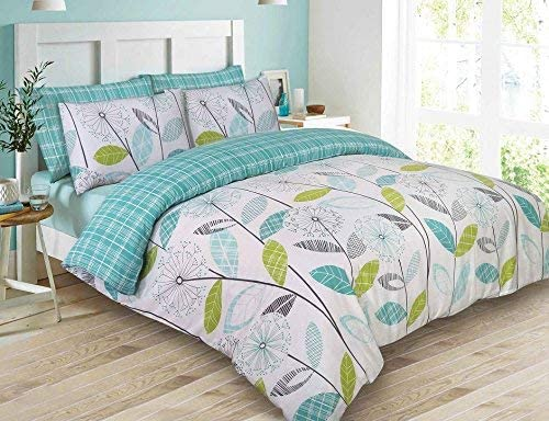 DOUBLE /& KING SIZE REVERSIBLE BEDDING ALLIUM DANDELION TEAL DUVET COVER SETS