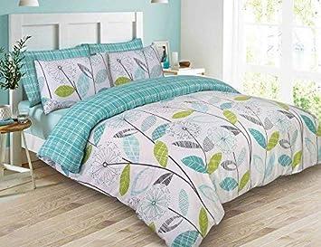 Dreamscene–lujo–Juego de cama con funda de almohada, poliéster/algodón, verde azulado, King