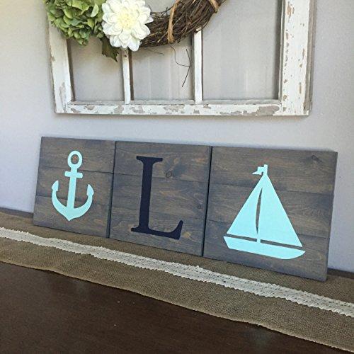 10x11 Set of 3 Nautical Nursery Signs, sailor nursery, monogram sign (Monogram Sawtooth)